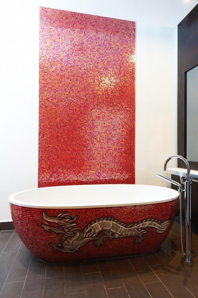 Мозаичная кладка в ванной комнате в азиатском стиле