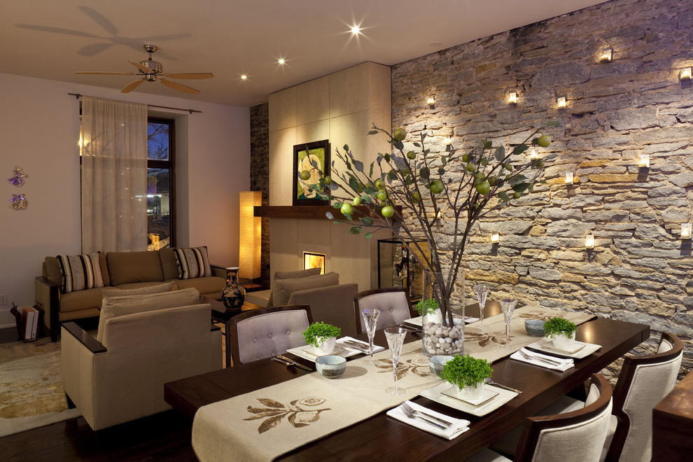 Дизайн гостиной с природным камнем