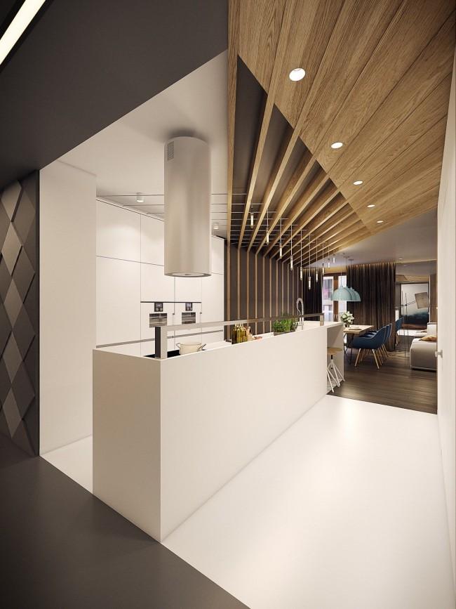 Шикарный комбинированный потолок современной кухни