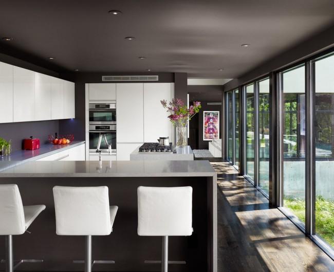 Потолок на кухне – какой лучше? Фото: Угольно-черный потолок с вмонтированными в ряды точечными светильниками – строго и без излишеств