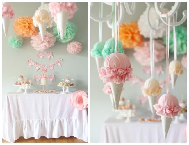 Конусные гирлянды в виде мороженого из ткани и бумаги