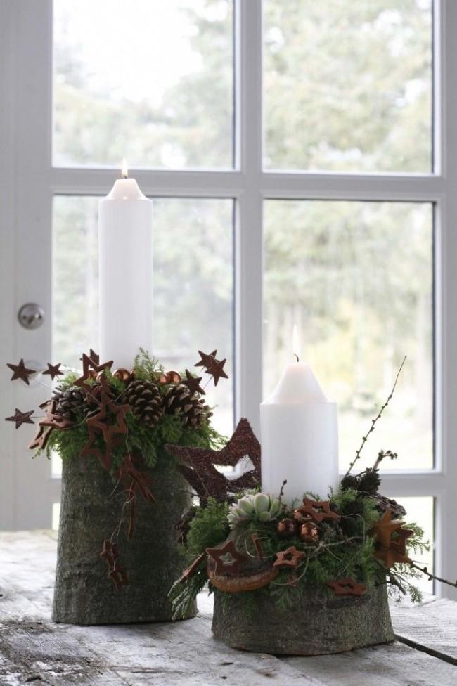 Классические белые свечи в новогодней композиции