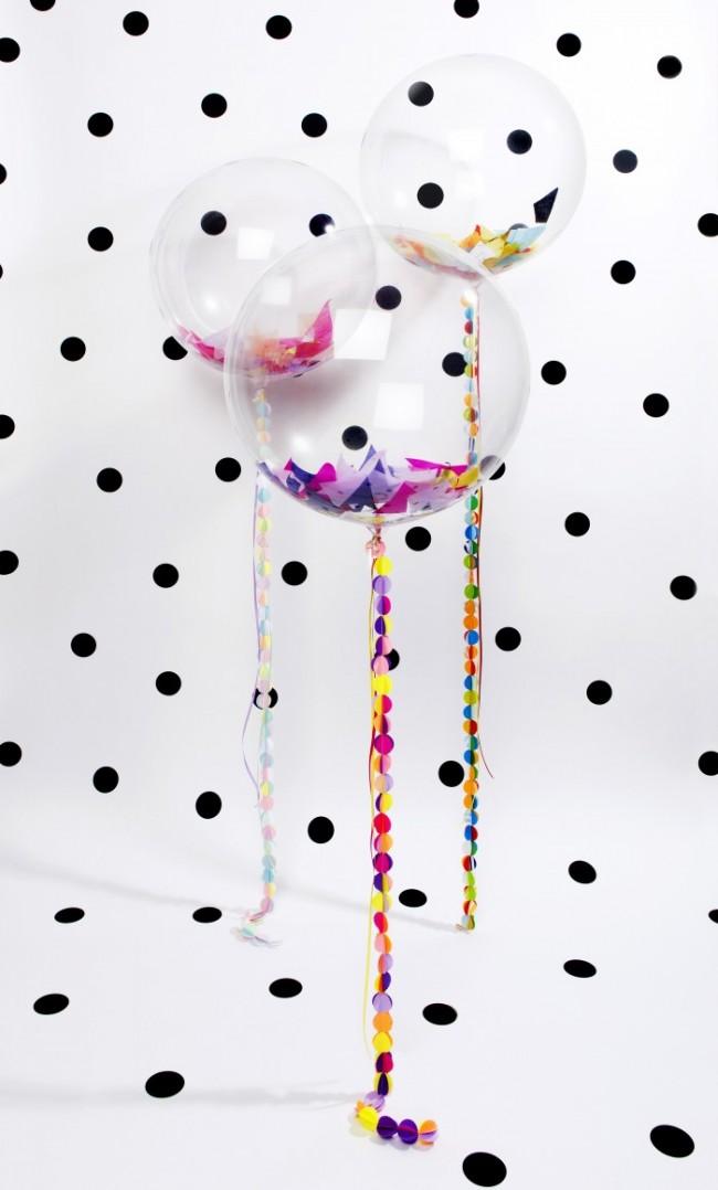 Еще одна красочная идея - сюрпризы или конфетти внутри воздушных шаров