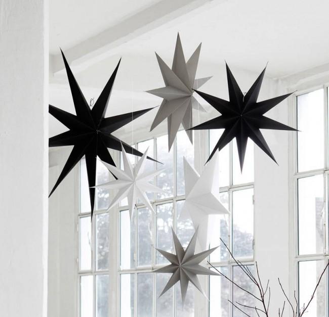 Черно-белые большие звезды из картона: подойдут как для семейного празднования Нового года, так и для любой бунтарской вечеринки