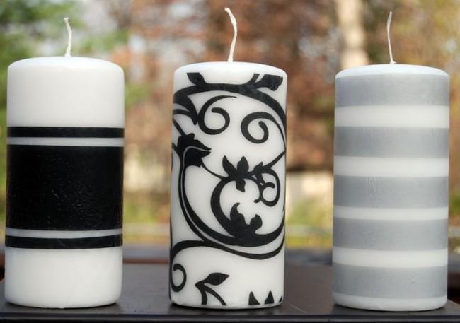 Акриловые краски в черно-белом декоре свечи