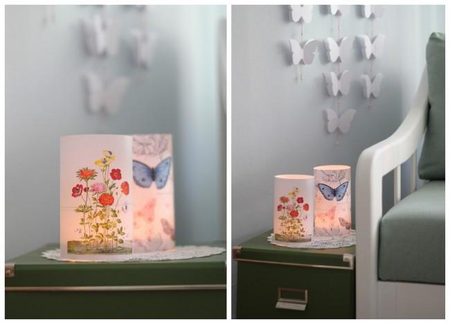 Нежный растительный рисунок и бабочки. Такой можно найти на готовых декупажных листах