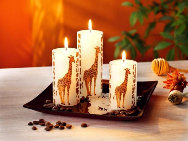 Идея декора свечи изображениями животных