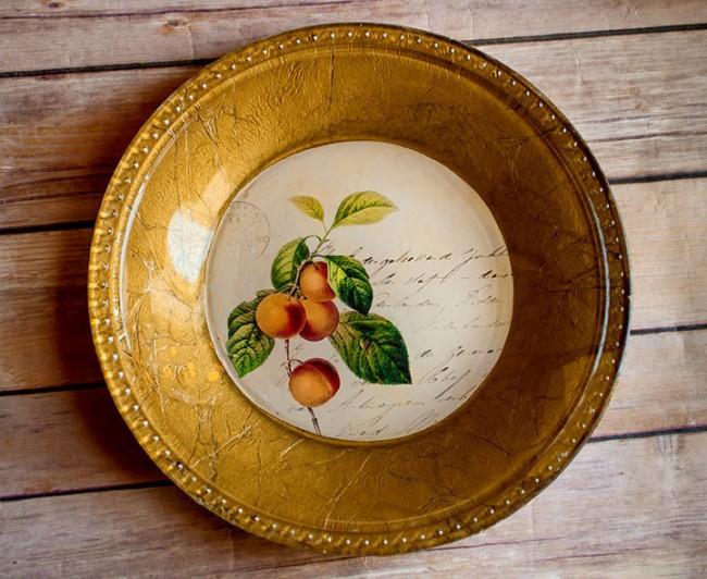 Обратный декупаж стеклянной тарелки