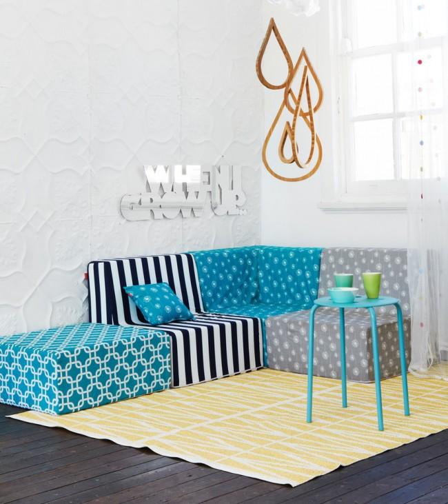Миниатюрная модульная мягкая мебель для детей до 10 лет. Подходит для игровой комнаты