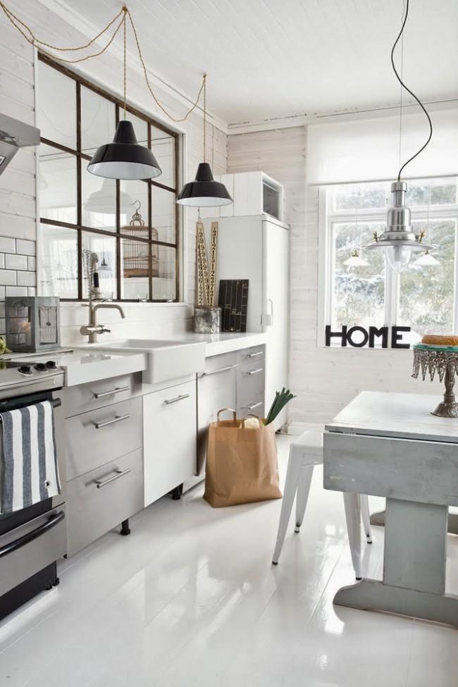 Благодаря линейному размещению мебели можно выиграть больше свободного места и освещенности