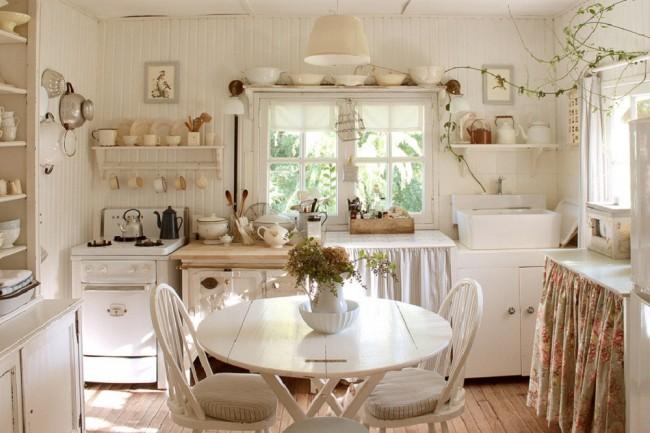 Тканевый абажур в кухне добавит тепла кухне стиля прованс