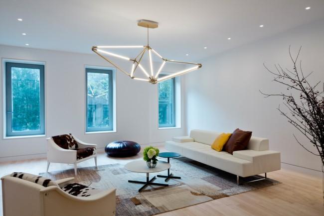 Осветительный прибор выступает в качестве фокусного центра гостиной