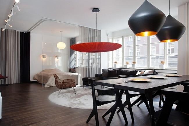 Зонирование квартиры с- студии с помощью стильных предметов освещения