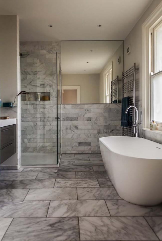Если использовать камень, имитирующий гранит или мрамор, либо применить его в натуральном виде, получится невероятно красивая ванная комната