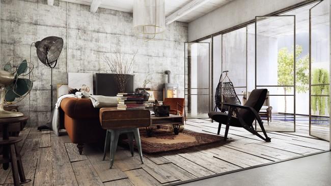 Такой торшер гармонично вписывается в индустриальный дизайн просторной гостиной