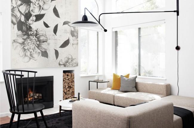 Черно-белая гамма оформления гостиной