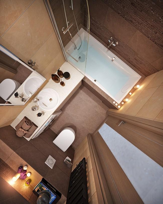 Проект ванной, облицованной камнем