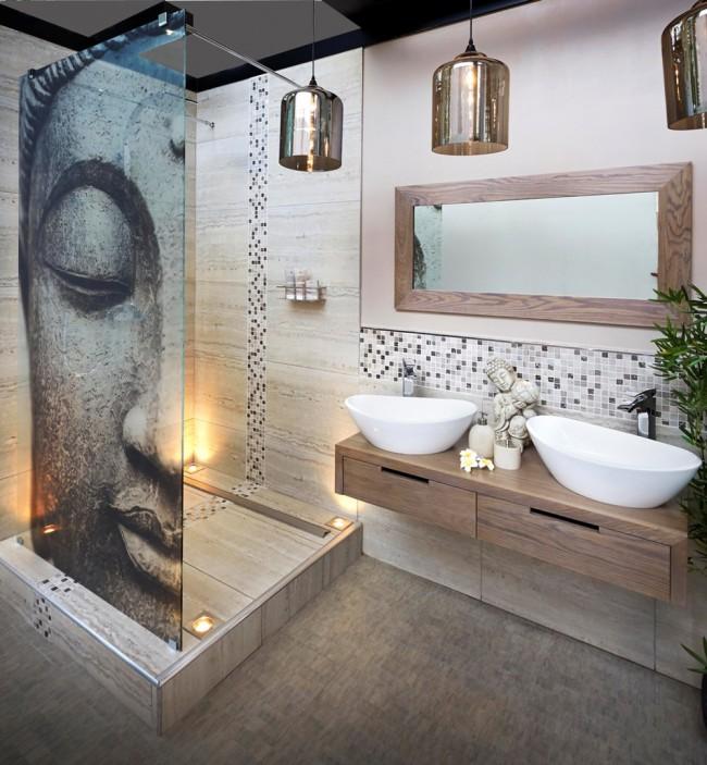 На пике моды для ванной любого размера - натуральные цвета в оформлении