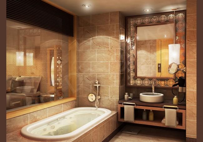 Проект ванной в теплых оттенках камня и дерева. Ванную и спальню разделяет очень большое окно с жалюзи