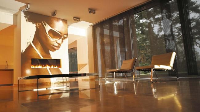Невероятно стильные черные прозрачные панельные шторы