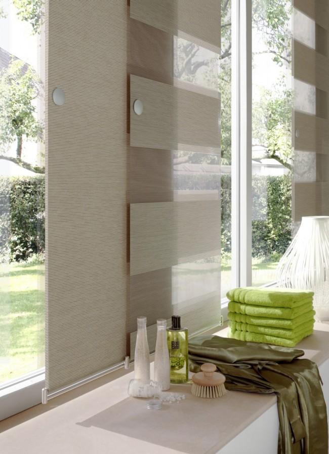 Великолепные японские шторы с чередованием различных материалов