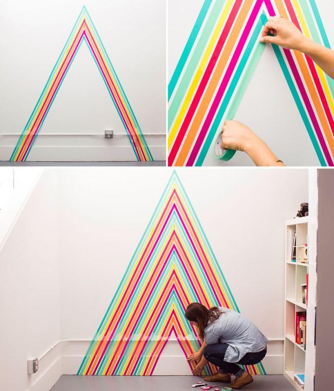 Однотонные стены можно и нужно украшать различными, характерными для общего стиля помещения, предметами. На фото - декор цветным бумажным скотчем