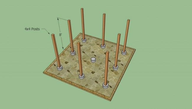 Закладка фундамента и установка столбов