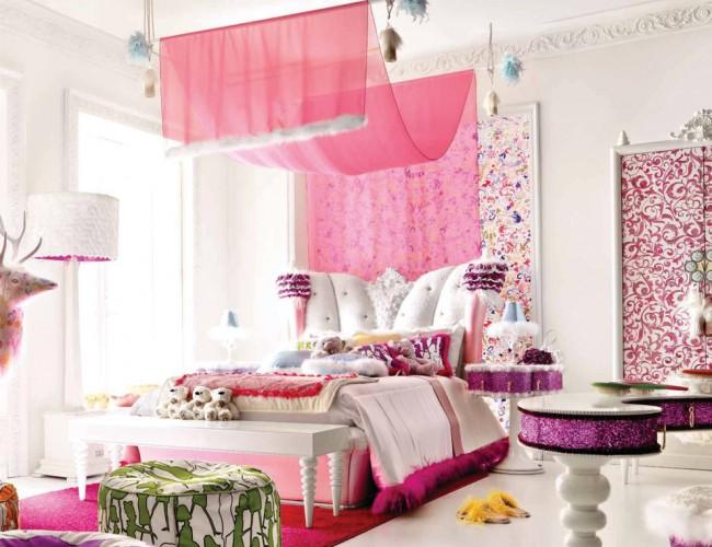 Гламурная комната модницы с меховой отстрочкой текстиля