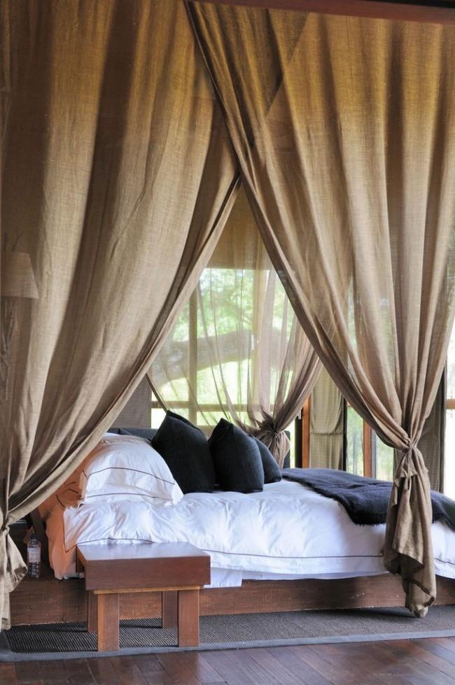 Льняная накидка для кровати, выделяющая зону сна