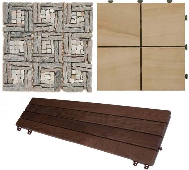 Некоторые из вариантов для устройства пола: каменная плитка-мозаика, пластиковые плитки с interlock-замками, тиковая доска с креплениями