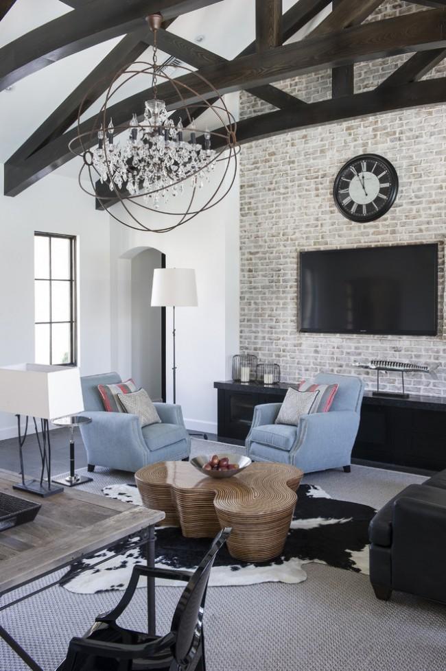 Красивая современна гостиная с элементами готического стиля