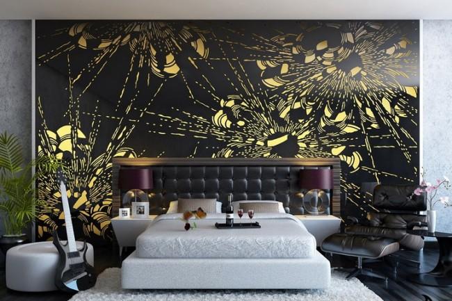 Черный мурал с яркими лучами в контрастно отделанной спальне