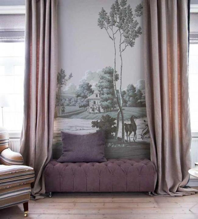 Комната с настенным муралом: влияние колониального стиля