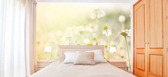 Светлая комната с ромашковым полем на стене