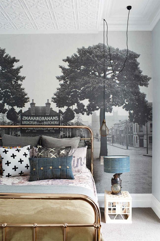 Ретро-снимок на всю стену в скандинавском дизайне комнаты