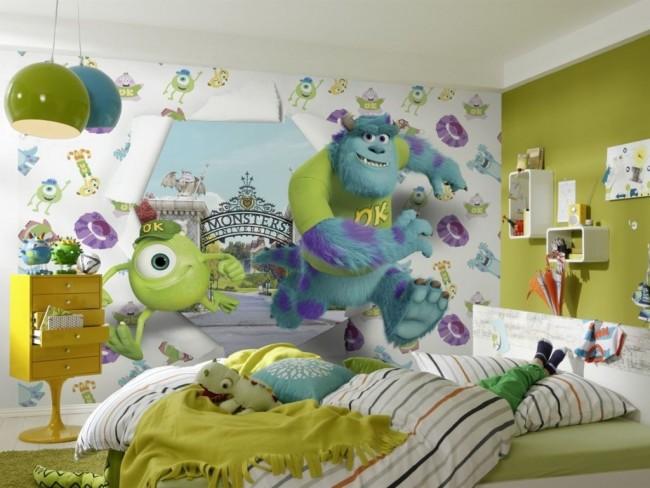 Мультяшные герои оживают с помощью 3D-эффекта на стене в детской спальной