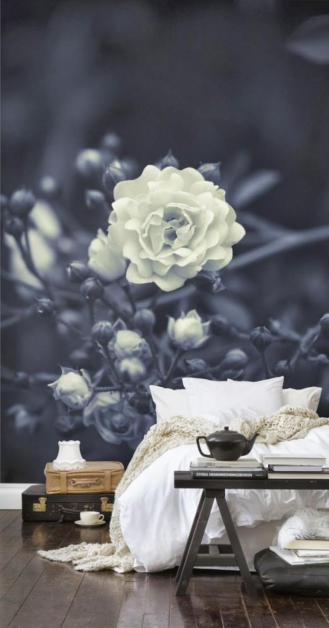 Крупный 3D цветок с эффектом боке на фоне