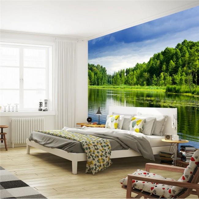 """Оживление светлой комнаты обоями """"с видом на озеро"""""""