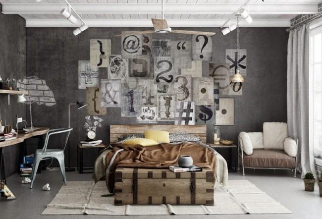 Современная спальня комната с гранжевыми обоями