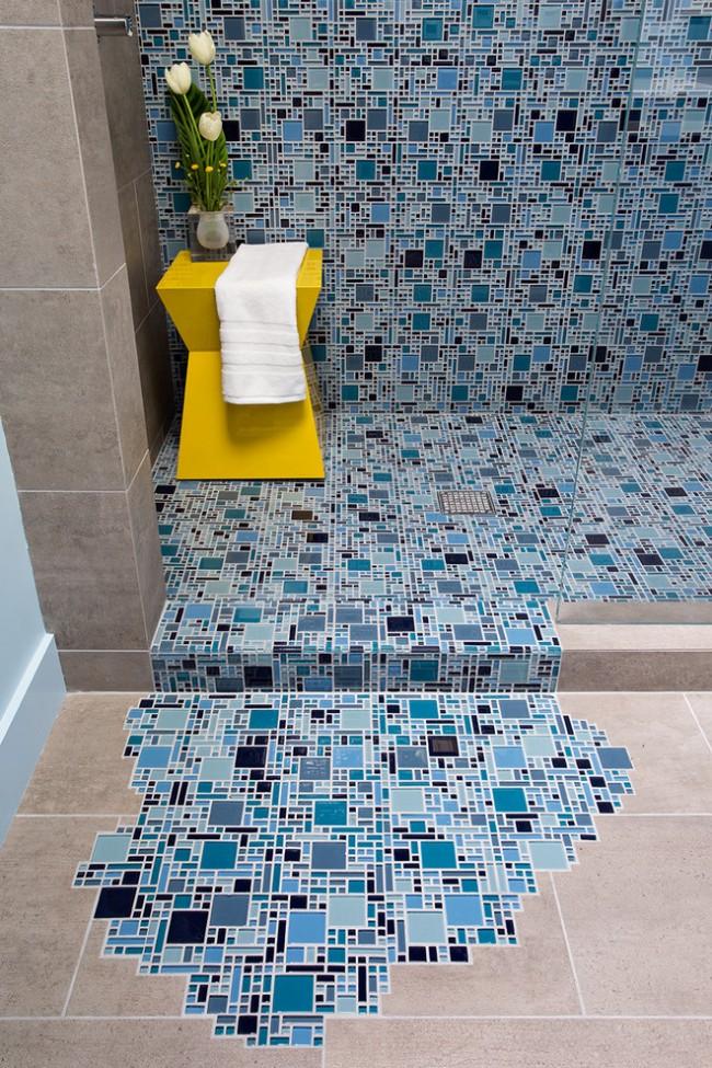 Пиксельный сюжет, имитирующий поток воды - остроумный и позитивный декор ванной