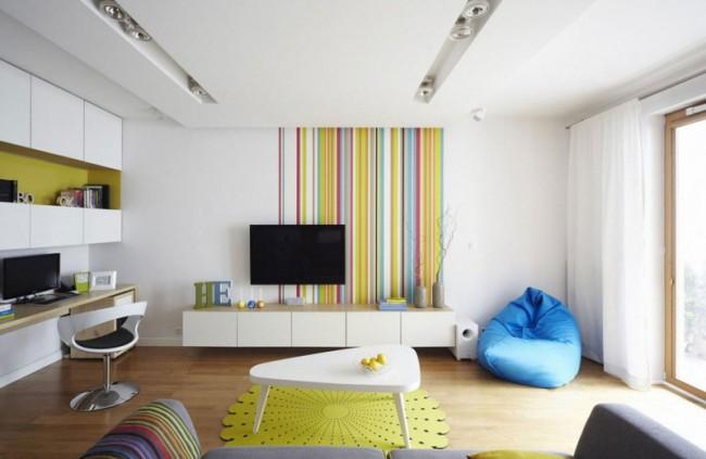 Немного ярких красок разбавят белые стены