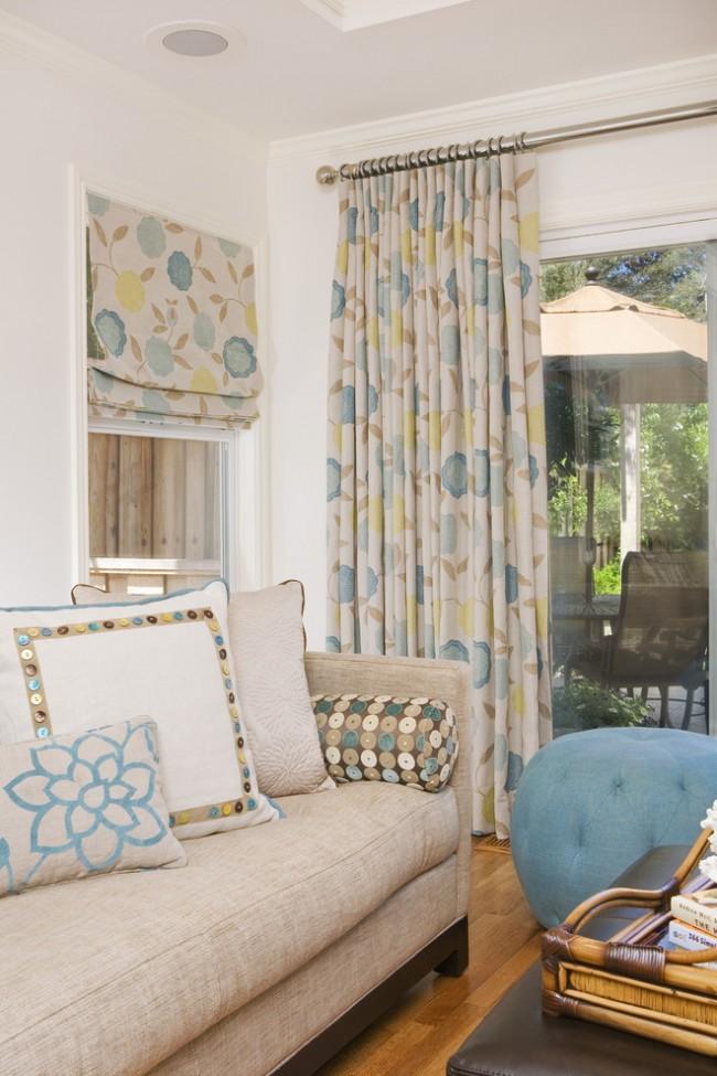 Дизайн штор вписывается в общий облик интерьера и сочетается с занавесками, подушками и прочим домашним текстилем