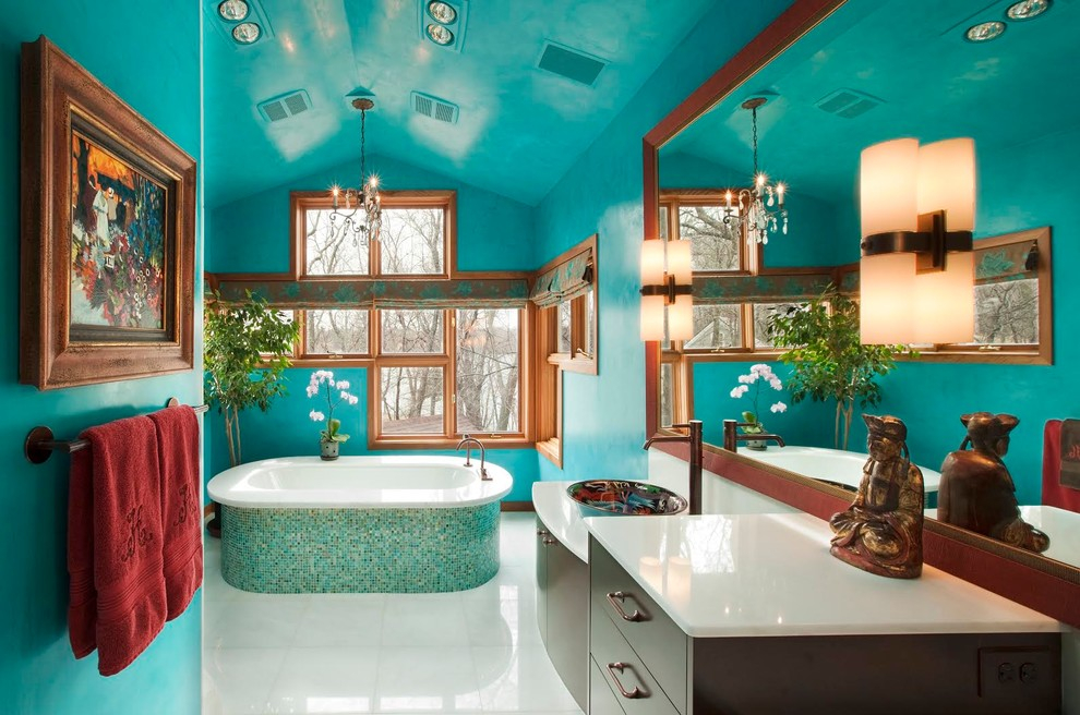 Красивый интерьер ванной по цветам