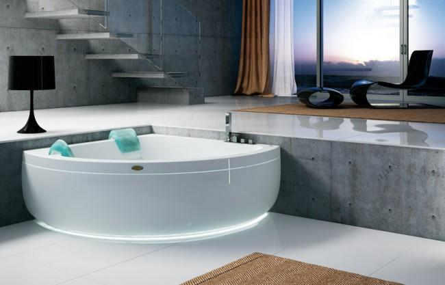 Угловая ванна с подсветкой в интерьере современного стиля
