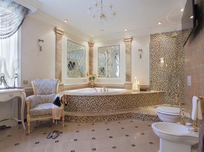 Угловая ванна в интерьере классического стиля