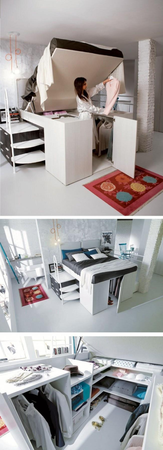 Гардеробная под кроватью - удачное решение для маленькой квартиры