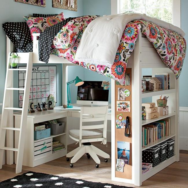 Кровать-чердак подростка с комфортной рабочей зоной впишется практически в любой интерьер