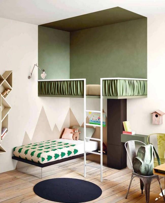 Двухъярусная кровать в великолепном интерьере нейтральной детской