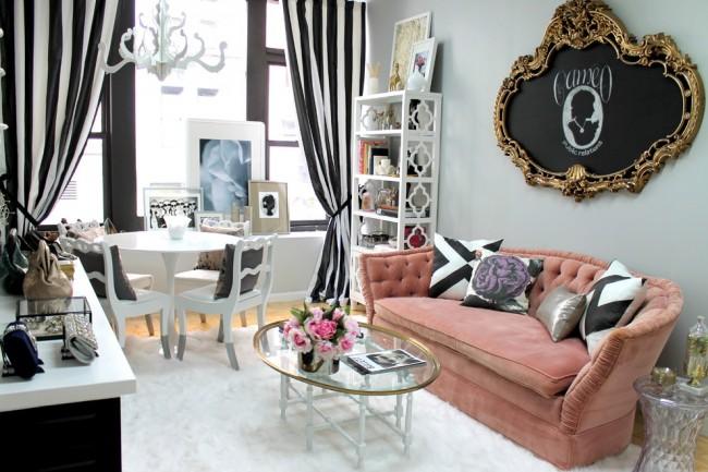 Прекрасное сочетание черно-белых штор и дизайна в стиле арт-деко