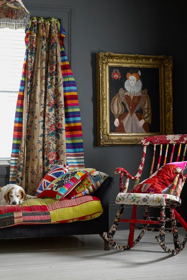 Разноцветные гардины в интерьере стиля бохо